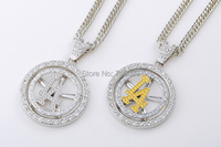 10pcs Lot Wholesale Fashion Hiphop JewelryCharm Can Rotate LA Pendant Necklace For Men And Women Original
