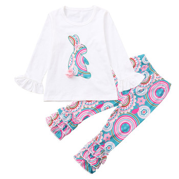 JOYINPARTY Girls Spring Clothes Set Easter Bunny T-Shirts Colorful Vintage Ruffle Pant Kids Clothing Boutique Cotton Outfits Set