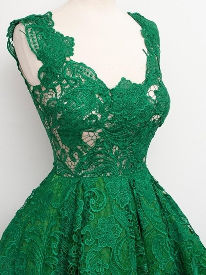 2016-Hot-Sell-Emerald-Green-V-Neck-Sleeveelss-Knee-Length-Cocktail-Dress-Lace-Short-Formal-Dress (1)