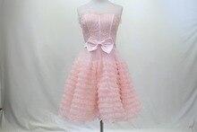 2016 neue rosa Cocktailkleid Echt Fotos hohe Kragen Schlüsselloch zurück Mini Cocktailkleider Party Kleid