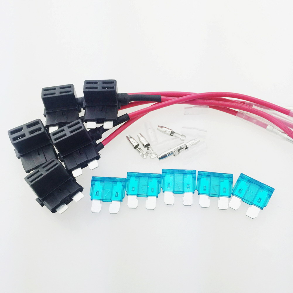 5Pcs Universal 15A Add Circuit Medium Blade Fuse Boxes Holder Fuse Adapter Tap Kit ACS ATO ATC Piggy Back pu leather velvet blood halloween choker page 2