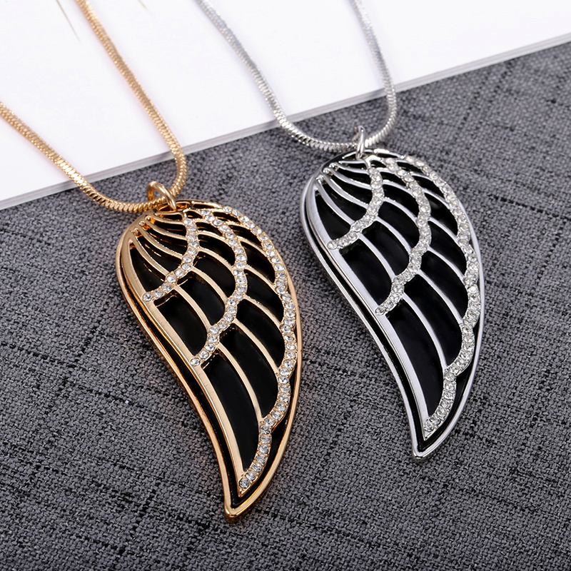 New 2018 Crystal Luxury Feather Angel wings Long Necklaces Pendants Rose Gold Fashion Collier Jewelry for women Dropshipping 22