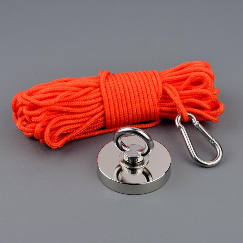 300 kg Puissant De Récupération De Récupération Aimant Aimants De Pêche Magnétique Néodyme Forte Aimant Base avec 15 Corde et Gants