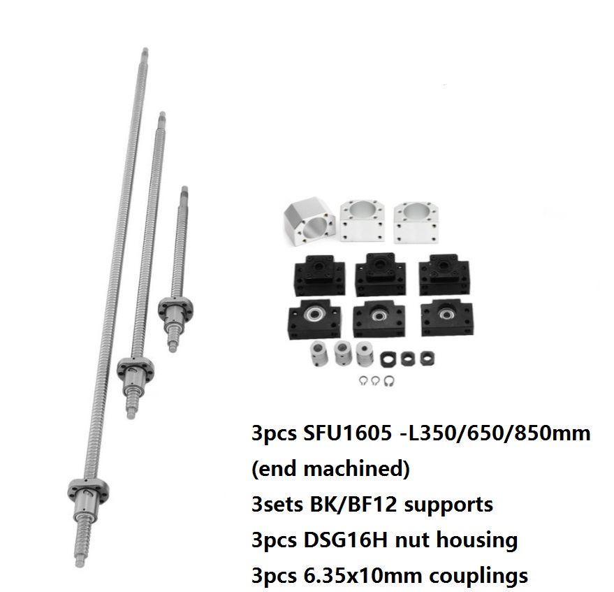 3pcs ball screw RM1605 SFU1605 350/650/850mm +3pcs DSG16H nut h +3sets BK/BF12+3pcs coupling for CNC parts3pcs ball screw RM1605 SFU1605 350/650/850mm +3pcs DSG16H nut h +3sets BK/BF12+3pcs coupling for CNC parts