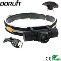 BORUiT 1000LM XM L2 LED Headlight 4 Mode Zoom Headlamp USB Rechargeable Head Torch Camping Hunting