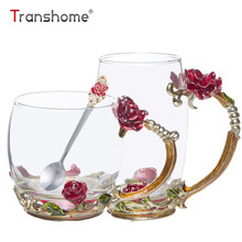 Transhome Kreative Farbige Emaille Glas Tassen 330 ml Vintage Neuheit Emaille Kaffeetasse Mit Löffel Für Blume Teetasse Trinkbehälter becher