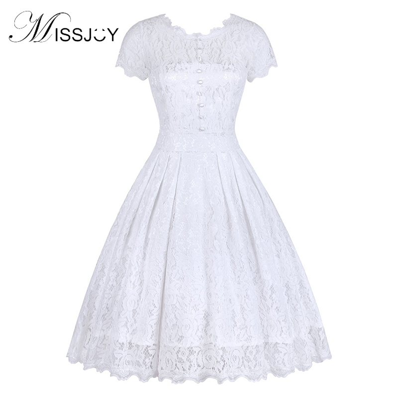 MISSJOY Vestido De Festa Dress Button Backless Women Vintage Rockabilly Swing Elegant Bridesmaid A-Line Party White Lace Dress