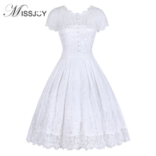 MISSJOY Vestido de festa Dress Button Backless Women Vintage Rockabilly Swing Elegant Bridesmaid A-Line Party White Lace
