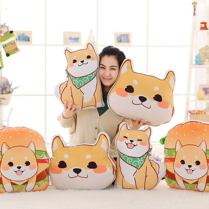 Cute Yellow Dog Plush Toys Shiba Inu Cloth Doll Winter Hand Warm Soft Dog Head Hamburger Pillow Cushion Kids Birthday Gift Toy 1pcs 22cm fluffy plush toys white eyebrows cute dog doll sucker pendant super soft dogs plush toy boy girl children gift
