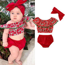 149503255 Newborn Baby Girls clothes Off Shoulder Ruffle tassels Watermelon print  sleeveless Tops solid Shorts 3PCS kids cotton Outfits