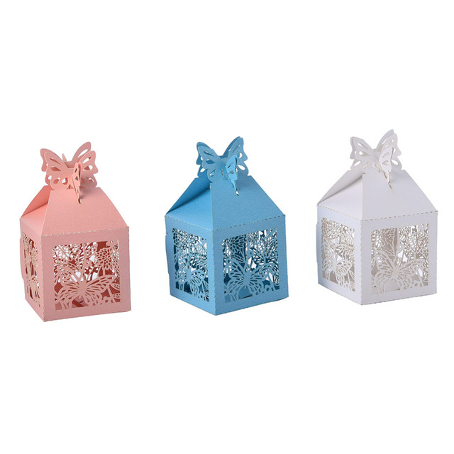 10pclot Beautiful Butterfly Laser Cut Hollow Carriage Favors Box
