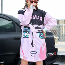 2019 Spring New Street Hipster Fashion Large Size Loose Cartoon Print Long Sleeves Trench Women