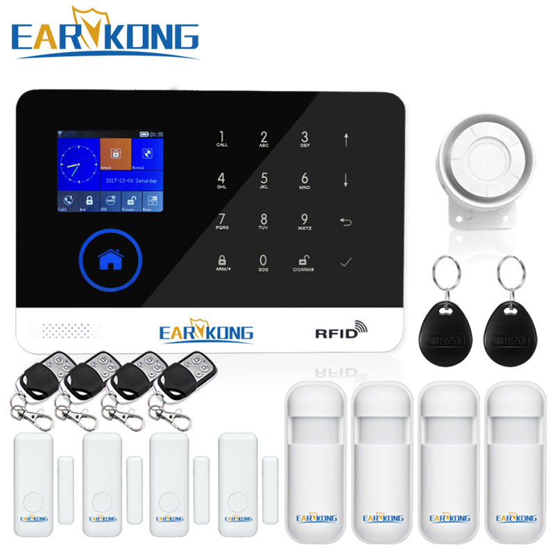 WIFI GSM Home Burglar Alarm System GPRS RFID TFT Screen Touch Keyboard English Russian Spanish German Polish Android IOS APP
