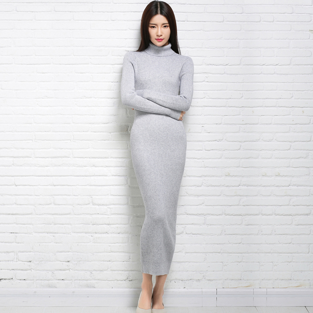 Autumn and winter wool sweater women slim hip slim ultra long over-the-knee knitted casual full dress thickening tight