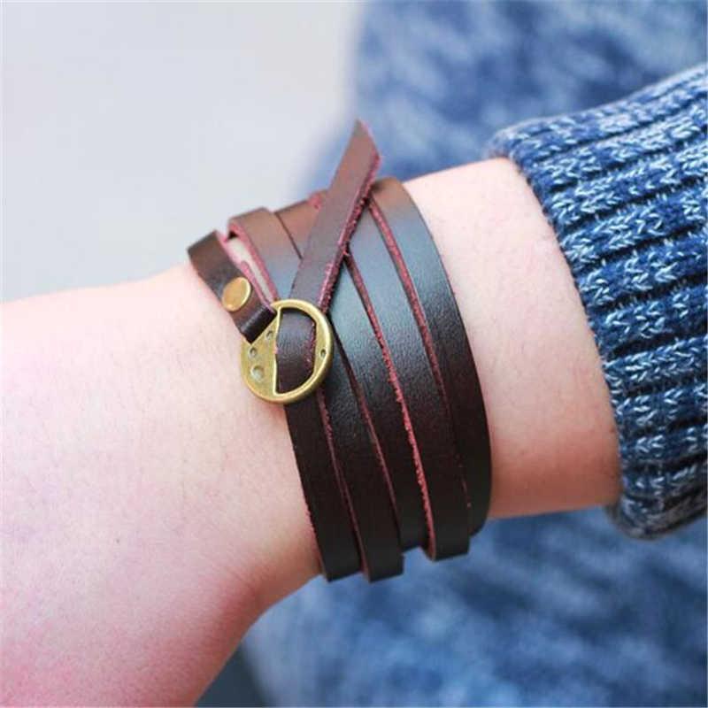 ZOSHI 2019 New Fashion brązowa bransoletka ze skóry wypoczynek Retro wielowarstwowa bransoletka damska/męska styl wisiorka bransoletki biżuteria boho