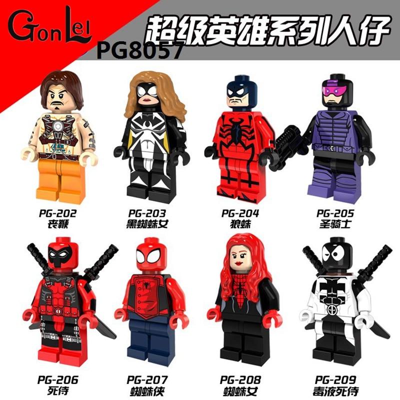 GonLeI 8pcs/lot PG8056 Super Heroes Red Light Batman Deadpool Cyclops Hyperion Female Captain America Spider Woman Blocks Toys projector lamp bulb an xr20l2 anxr20l2 for sharp pg mb55 pg mb56 pg mb56x pg mb65 pg mb65x pg mb66x xg mb65x l with houing