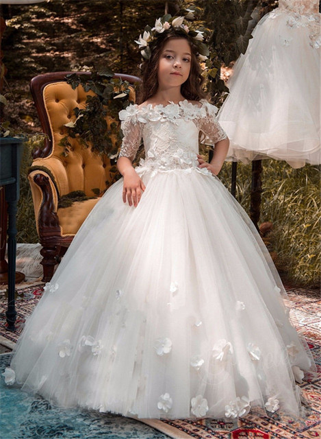 c0d7f352740 Adorable 3D Floral Lace Flower Girl Dresses for Wedding Off Shoulder  Applique Teens Pageant Dress Birthday Dress Communion Gown