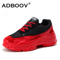 ADBOOV Autumn New Trendy Women Sneakers Height Increasing 5 CM Chunky Shoes Suede Mesh Upper Platform