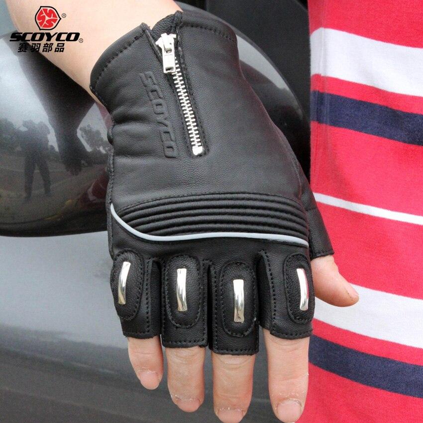 Goatskin Genuine Leather Protective <font><b>Motorcycle</b></font> <font><b>Gloves</b></font> Scoyco MC25 Motos Luvas Guantes Motocicleta Half Finger <font><b>Fingerless</b></font> Race