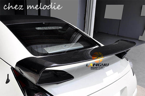 RR style High quality real Carbon fiber Car rear trunk spoiler For Nissan GTR R35 2008 2016, drilling needed