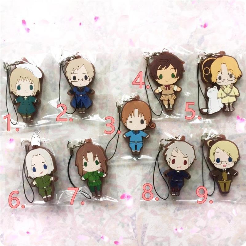 1pcs Anime Keychain APH Hetalia Axis Powers Swden Swiss ES CA Poland Cosplay Bag Phone Pendant Portachiavi Keyring De Llaveros ...