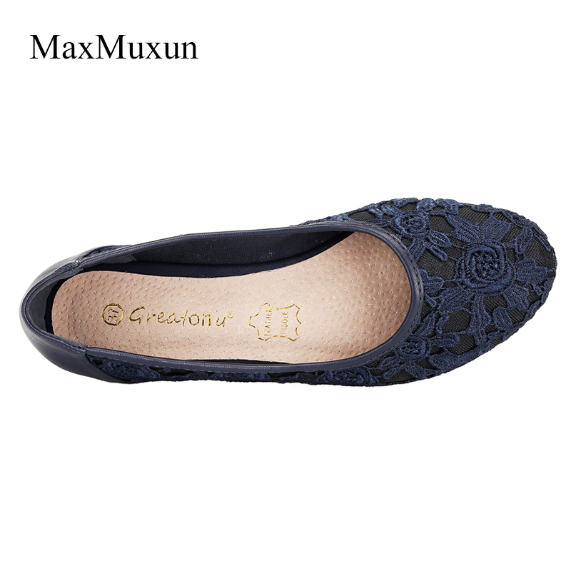 Maxmuxun Womens Lace Ballet Flats Slip On Point Toe Cute Flower Ballerina Casual Shoes White Black Ladies Bridal Wedding Flats in Women 39 s Flats from Shoes