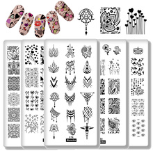 5Pcs Nail Plate Set Art Stamping Plates Collection Nails Stamp 12x6 Stainless Steel Metal Templates Lover Lace Design
