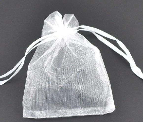 Organza Organza Jewelry Bags Drawable Rectangle White 12cm X9cm(4 6/8