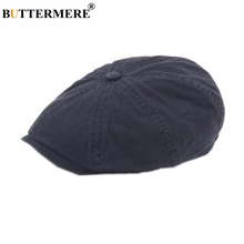 BUTTERMERE Men Cotton Flat Hat Newsboy Cap Gatsby Octagonal Duckbill Beret Solid Navy Black Spring Autumn Painter