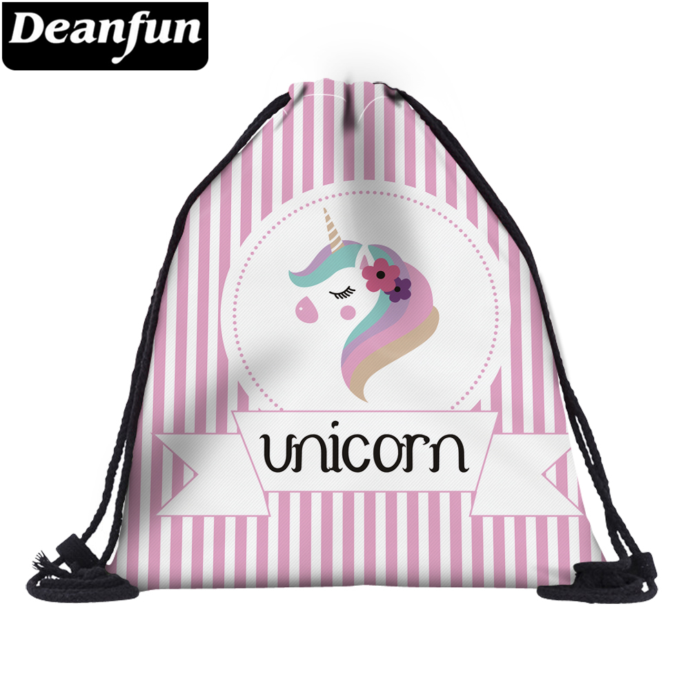 Deanfun 3D Printed Drawstring Bag Striped Unicorn Girls Schoolbags For Organzier 60133