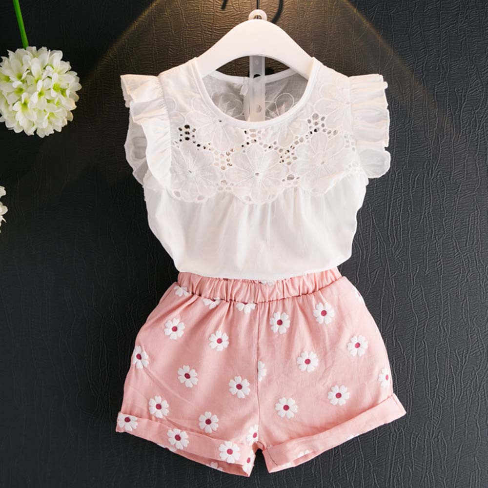 2pcs ילדי תינוק בנות קיץ תלבושות תחרה חולצות פרחוני מכנסיים מכנסיים קצרים ילדי ילד ילדה חמוד בגדי לולי למעלה + מכנסיים