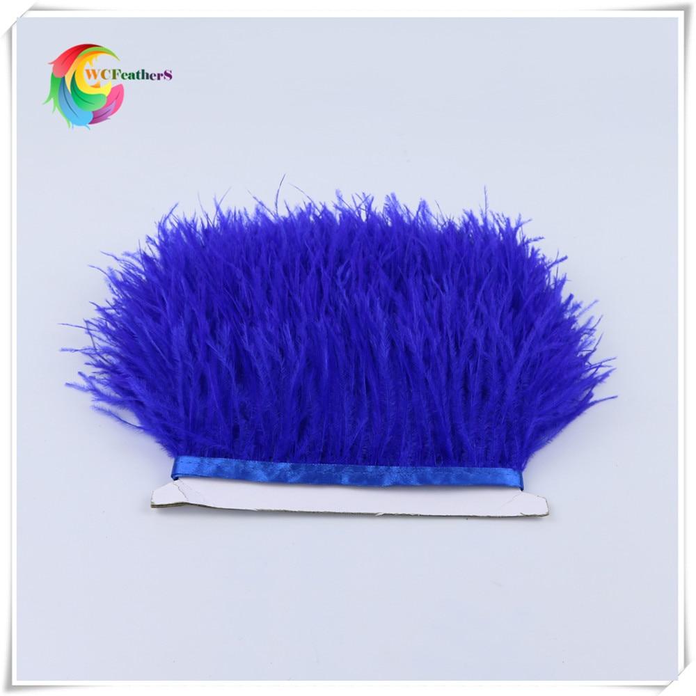1 метр 32 цвета обрезки из натуральных перьев страуса высота 8-10 см Перья ленты для DIY свадьба на праздник, украшение для платья Ремесло - Цвет: O8 Blue