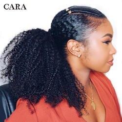 Накладные волосы на резинке расширения монгольский афро кудрявый вьющиеся волосы 4B 4C Клип В Пряди человеческих волос для наращивания