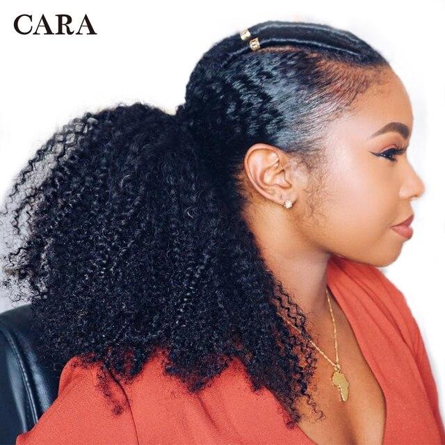 Extensiones de cola de caballo con cordón Pelo Rizado Afro mongol 4B 4C Clip en extensiones de cabello humano Cola de Caballo cabello Remy CARA