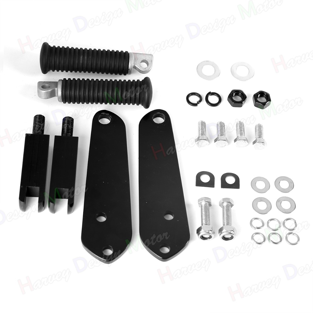 Black Highway Footpegs With Mount Kit Fit For Harley Dyna FXDB FXDC FXD FXDL 1991 2016