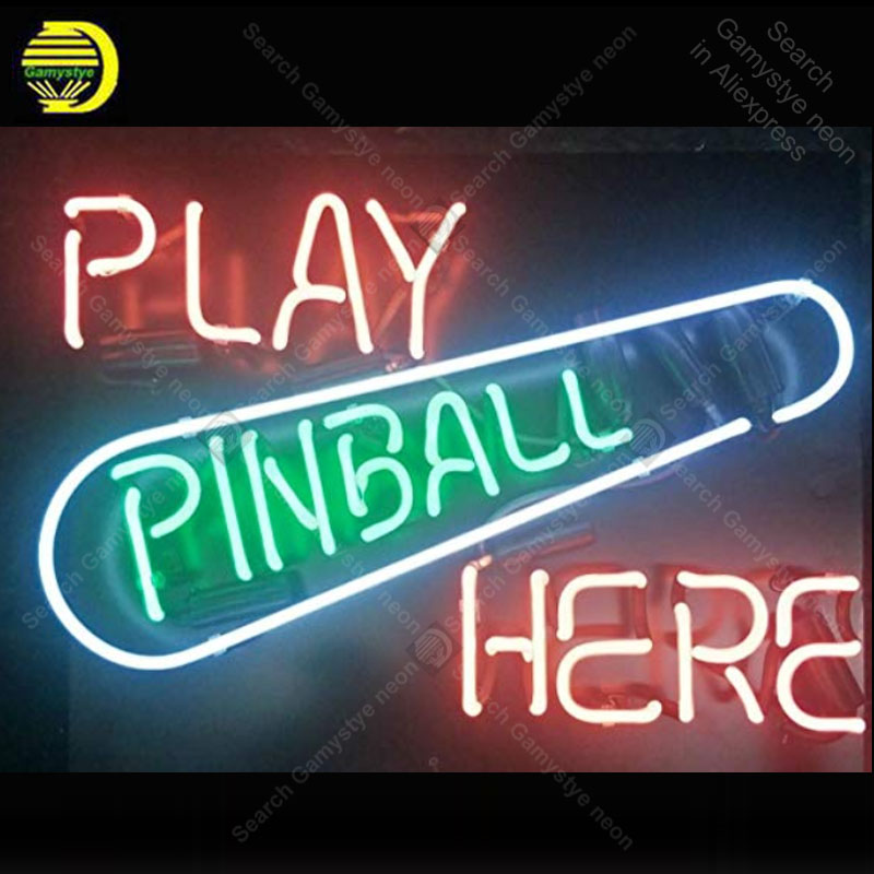 Neon Sign for Play Pinball here Glass Tube Neon Bulb Signboard decorate restaurant board sign Light sign lampara CommercialNeon Sign for Play Pinball here Glass Tube Neon Bulb Signboard decorate restaurant board sign Light sign lampara Commercial