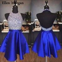 Блестящий Королевский Синий Атлас Короткие вечерние платья длиной выше колена Мини Сексуальная Холтер спинки черный в школу Выпускной для