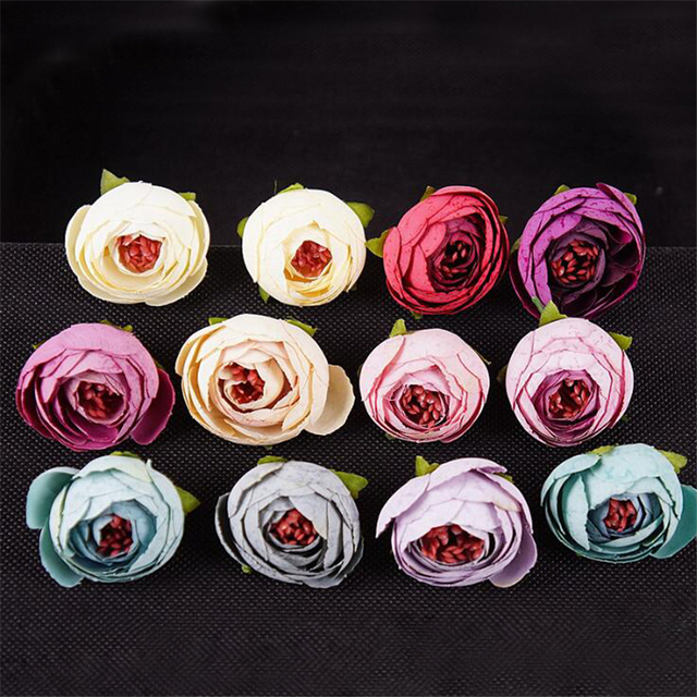 100pcs artificial silk flower heads tea rose buds wreath diy gifts 100pcs artificial silk flower heads tea rose buds wreath diy gifts box wedding party decoration scrapbooking mightylinksfo Image collections