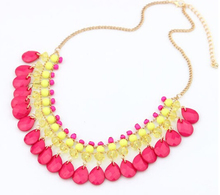 MX0160  Amorous feelings of water droplets pendant PendCollier Punk Big Vintage Chunky Bohemian Maxi Blue Collares Necklace