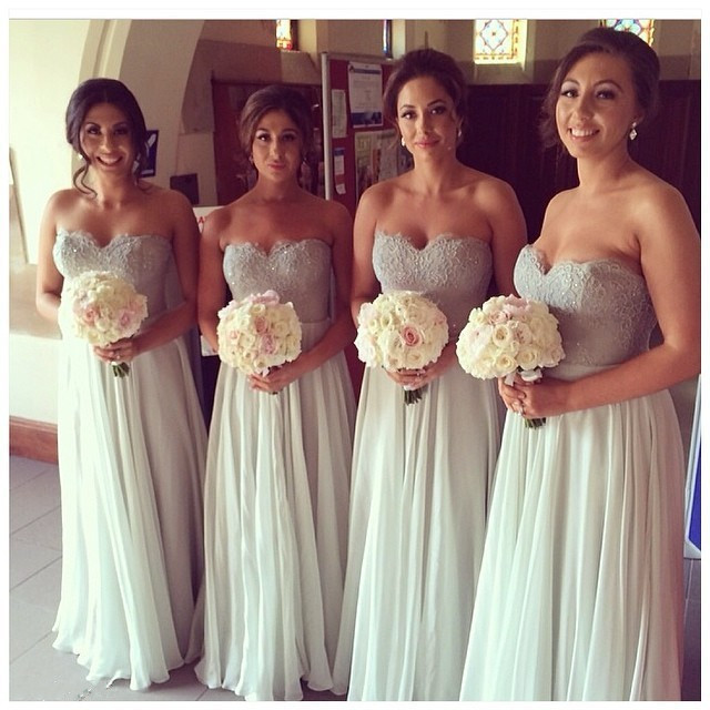 2019 Cheap   Bridesmaid     Dresses   Under 50 A-line Sweetheart Chiffon Lace Beaded Long Wedding Party   Dresses   For Women