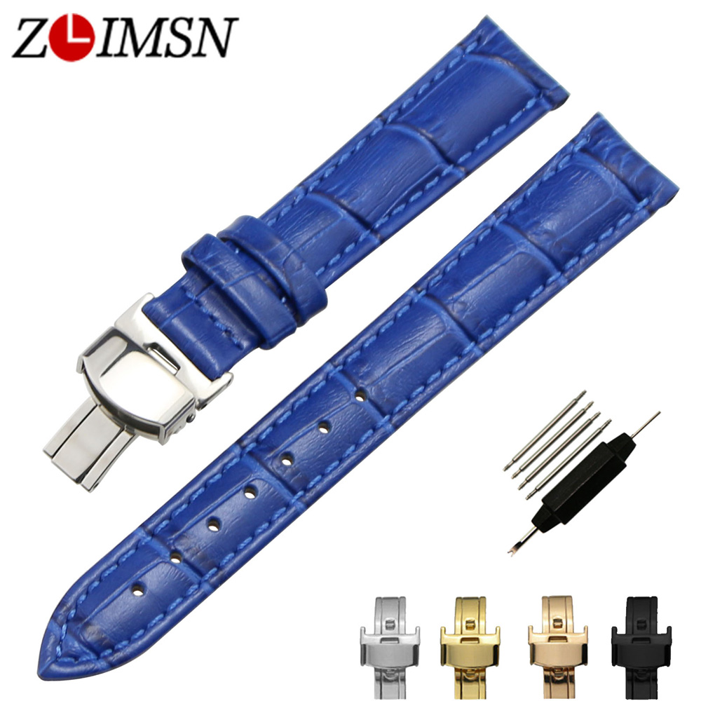 ZLIMSN Italy Genuine Leather Watch Bands Replacement Butterfly Clasp Buckle Blue Crocodile Grain Strap Watchbands 12mm~20mm цена