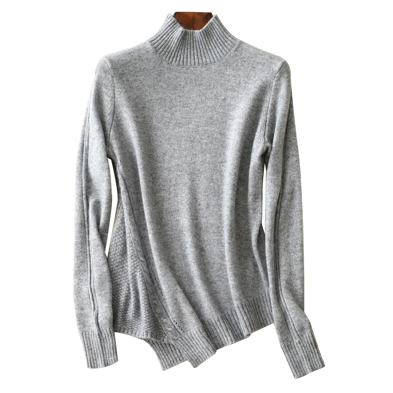 100 cashmere sweater women fashion wild short pullover half high collar cashmere sweater female warm knitted