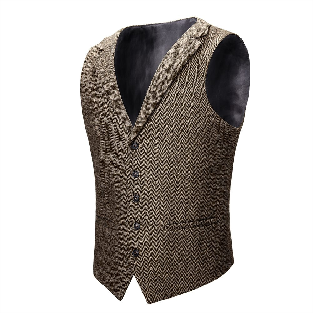 VOBOOM laine mélange Tweed chevrons gilet manteau hommes kaki simple boutonnage cranté revers gilet 018