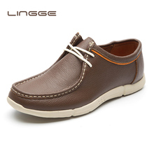 LINGGE/большие размеры; Мужская обувь из натуральной кожи; модная повседневная мужская обувь; мужская обувь на плоской подошве из натуральной кожи; удобная обувь