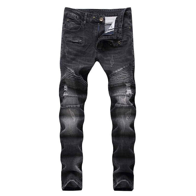 2019 New Fashion Men Jeans Runway Slim Racer Biker Jeans Fashion Hiphop Skinny Jeans For Men Denim Joggers Pants