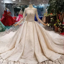 LS11291 luxury crystal wedding dresses royal train o-neck long sleeve shiny bride dress wedding gown 2019 new fashion mariage(China)