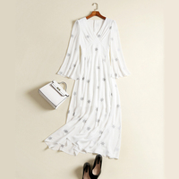 2017 High Quality Fashion Runway Style Sexy Deep V Neck Flare Sleeve Five Pointed Star Embroidery