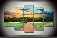 Modern Indoor Decor Original W9 Beach print poster canvas in 5 pieces
