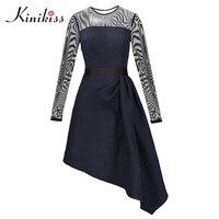 Kinikiss Spring Women Dress Print Mid Calf Elegant Dark Blue Asymmetric Dress Fashion O Neck Sexy