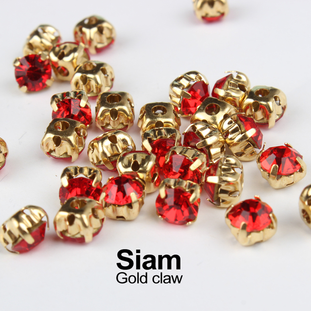 Rhinestone Siam with Sew on Gold Claw Set 4mm 5mm 6mm 7mm 8mm Strass  Diamond Stones 8454eca2eda4